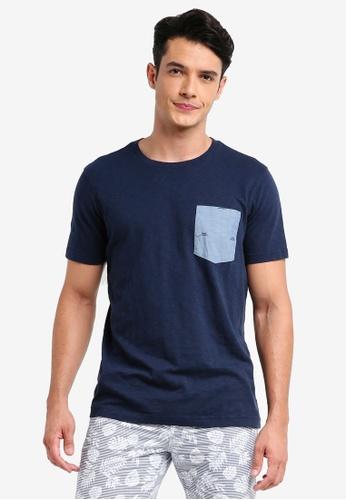 Brooks Brothers 海軍藍色 短袖口袋印花T恤 A19D8AACA6BDF6GS_1