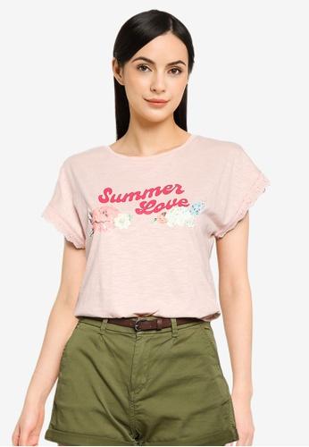Springfield pink Summer Love T-Shirt F7D32AA6CC375EGS_1