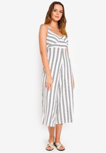Factorie white Flare Stripe Jumpsuit E4F1EAA682A3F7GS_1