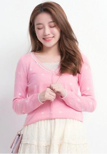 Yoco pink Cardigan in Polka Dot Print BE61AAA23D69E1GS_1