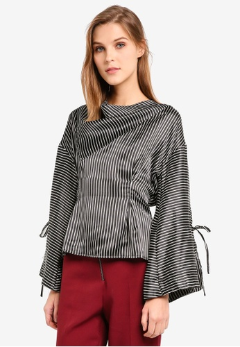 TOPSHOP black Drape Neck Twisted Blouse TO412AA0SIVCMY_1