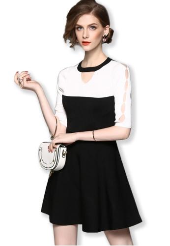 Sunnydaysweety black 2017 F/W Black Mid Sleeves One Piece Flare Mini Dress UA092023BK SU219AA0FXO0SG_1