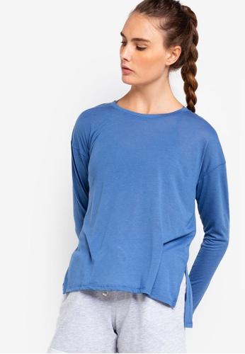Cotton On Body blue Long Sleeve Split Hem Top E5910AA7F121D4GS_1