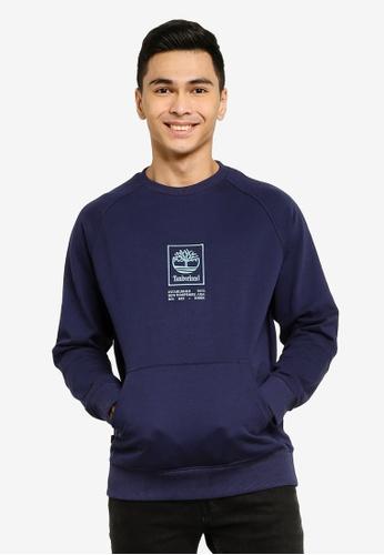 Timberland blue Stack Logo Crew Neck Sweatshirt 84559AAE0C2FE1GS_1
