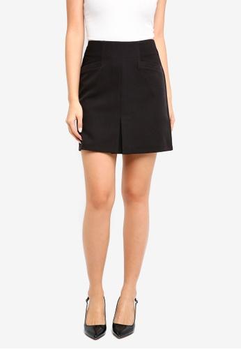 ZALORA BASICS black Skirt With Center Pleat 7F2E9AAB908FFAGS_1