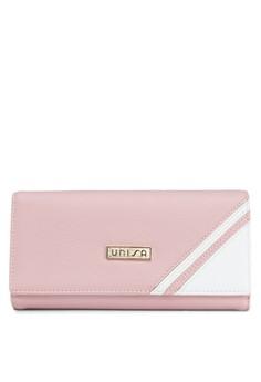Contrast Tri-Fold Long Ladies Wallet