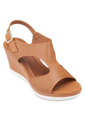 鏤空沖孔楔型跟涼鞋esprit mongkok, 女鞋, 鞋