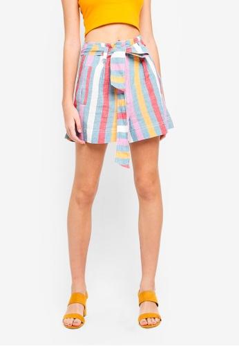 TOPSHOP multi Multi Stripe Linen Shorts 75465AA93EA75EGS_1
