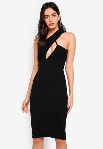 f38824ea215bd MISSGUIDED black One Shoulder Cut Out Midi Dress 7329CAAAD7D176GS_1. CLICK  TO ZOOM