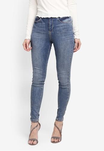 Miss Selfridge blue Mid Hot Fix Lizzie Jeans 3FCB3AA1D5670FGS_1