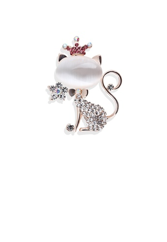 Glamorousky white Fashion and Cute Plated Gold Cat Opal Brooch with Cubic Zirconia C02E6ACDA7689CGS_1