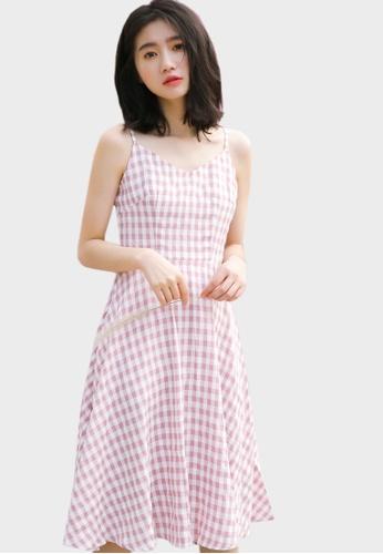 Shopsfashion white and pink Checked Midi F&F Dress 10E72AA02F2F99GS_1