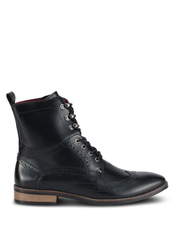 ACUTO black Wingtip Leather Boots AC283SH0SL6KMY_1