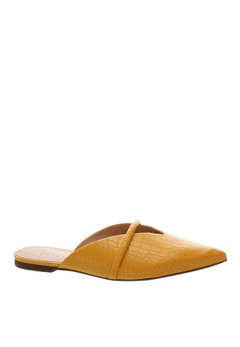 SCHUTZ yellow Mary Gold Croco Flat Mule - FELICIE [MARY GOLD] ED686SH9912D36GS_1