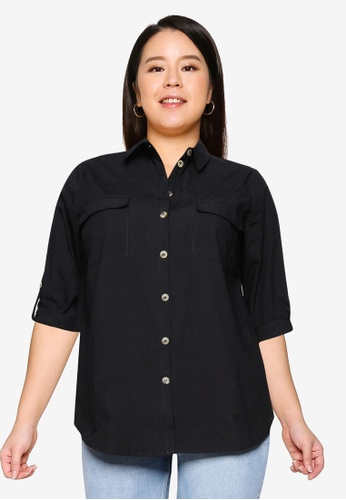Only CARMAKOMA black Plus Size Corinne Long Sleeve Shirt DF7B6AAE36636CGS_1