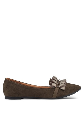 Noveni 褐色 褶飾平底鞋 1D5B3SH1DAACDCGS_1