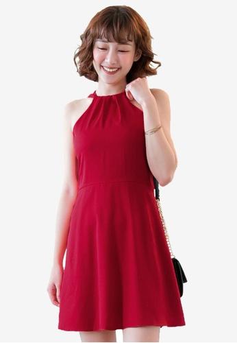 Tokichoi red Halterneck Skater Dress C812AAA6B469B5GS_1