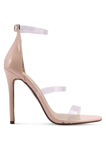 MISSGUIDED beige 3 Strap Perspex Barely There Heels 3133ASH7DA1159GS_1