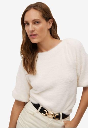 Mango white Faux-Fur Textured Sweater 591A7AA63072ECGS_1