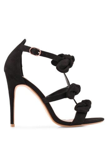 Velvet black Bow Strappy Heels 301CASHEA54916GS_1