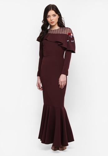 Zalia red Embellished Lace Pieced Mermaid Dress 243ECAA17AEDD8GS_1