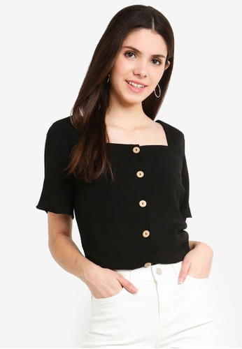 9a856886acdb6 Buy Dorothy Perkins Black Button Square Neck Top Online on ZALORA ...
