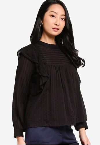 ZALORA BASICS black Ruffle Blouse With Lace Trims 8FD05AAEEA1BEBGS_1