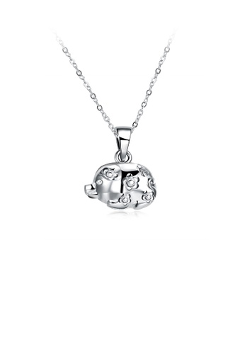 Glamorousky silver Simple and Cute Pig Pendant with Necklace D534EAC22559C8GS_1