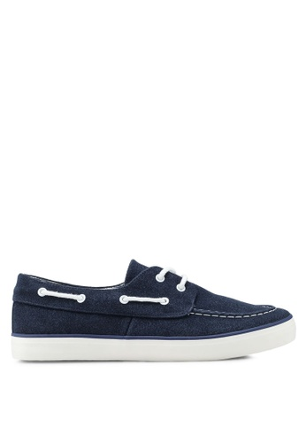River Island navy Faux Suede Boat Shoes 078AFSH9B91B16GS_1