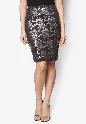 燙zalora taiwan 時尚購物網金文字印花鉛筆裙, 服飾, 裙子