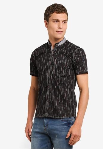 Fidelio 黑色 Mandarin Collar Printed Short Sleeves Shirt FI826AA0RLWWMY_1