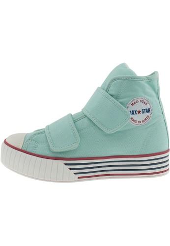 Maxstar 綠色 新款韩国鞋C30-2Band時尚帆布布混合女浅蓝色 US Women Size MA345SH50HCVTW_1