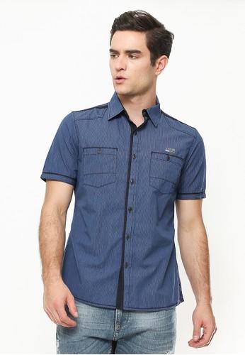 LGS blue Slim Fit - Kemeja Fashion - Corak Salur - Biru 2CBA4AA3183116GS_1