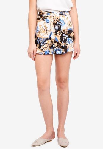 Miss Selfridge blue Printed Tie Waist Shorts 0EBE8AAE5D0939GS_1