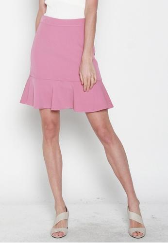 JOVET pink Fluted Hem Skirt 47780AA6621862GS_1