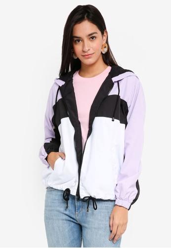 TOPSHOP purple Colour Block Windbreaker Jacket F36A8AA75C2E68GS_1