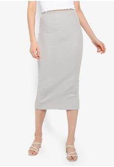 8536cd239 Miss Selfridge grey Grey Glitter Midi Skirt 7CB3BAA7215F10GS_1