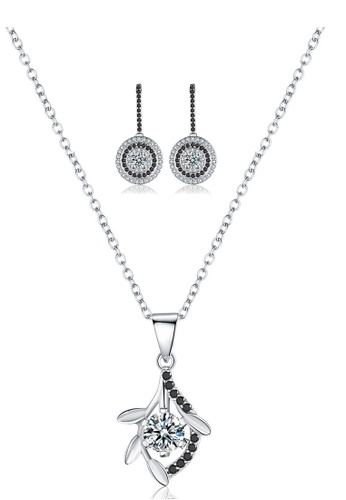 A-Excellence white Premium Elegant White Sliver Necklace Earring Set BD265ACDAC701CGS_1