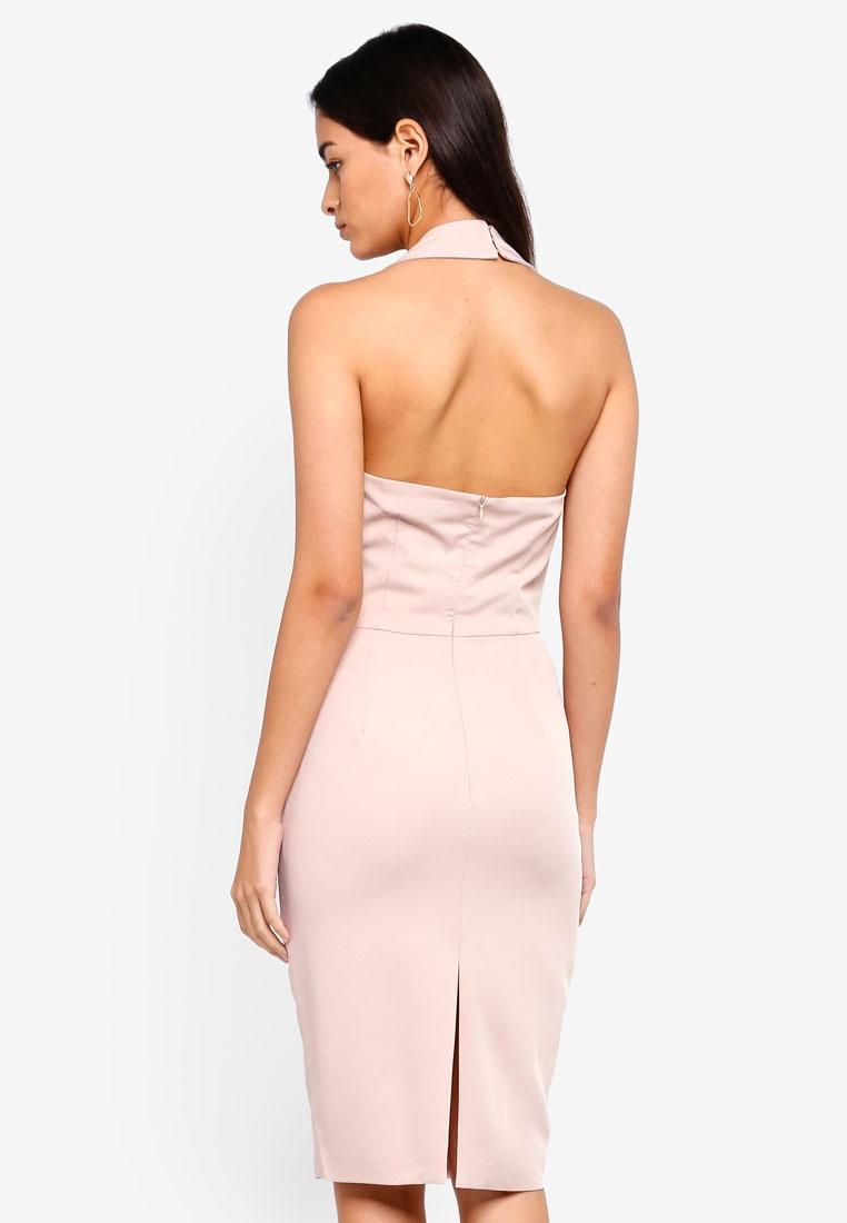 Nude Mini Dress Lavish Halterneck Alice Pleated gqR7wUBx