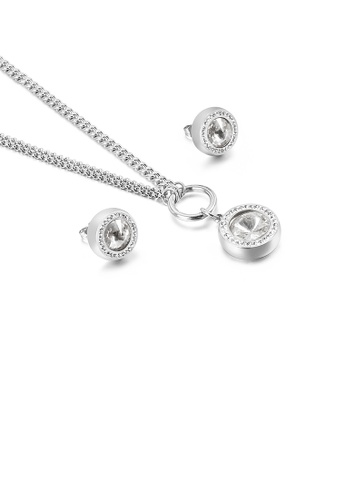 Glamorousky white Fashion Simple Geometric Round White Cubic Zirconia 316L Stainless Steel Necklace and Stud Earring Set 3FC72AC7142CEBGS_1