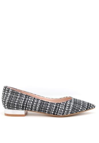 PRODUIT PARFAIT 黑色 格仔布尖頭平底鞋 F8759SH2EEF69EGS_1