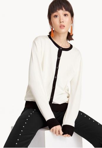 Pomelo white Contrast Trim Knit Cardigan - White 3FDC2AAB819BD3GS_1