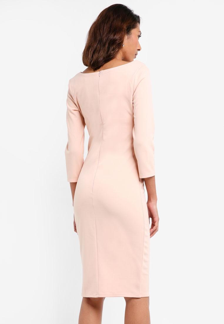 Pleated Midi Dress Goddiva Nude Front rqXZxrw