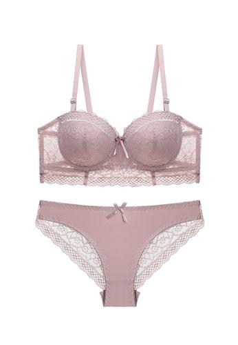 Sunnydaysweety purple Transparent Wing Lace Bra with Matching Pantie A080643PU 13F74US5E06649GS_1