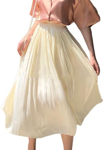 Sunnydaysweety beige Spring and Summer Pearlescent Silk High Waist Midi Skirt A21031918KI 7227FAADF6CB62GS_1