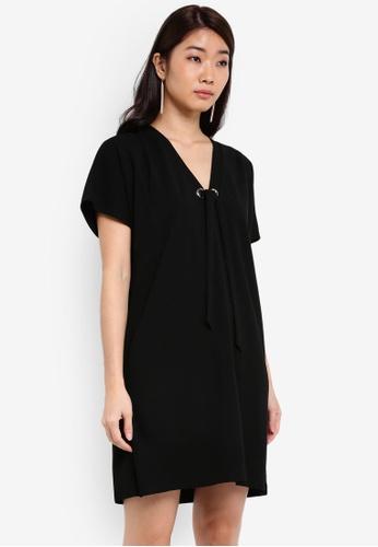 ZALORA black Essential Tie Front V Neck Dress 29D56ZZ744DA69GS_1
