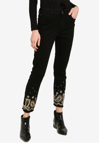 Desigual blue Paisley Embroidered Jeans 37616AA5152E69GS_1