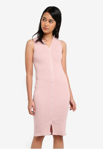 Penshoppe pink Midi Bodycon Dress FBE14AADCC08F4GS_1