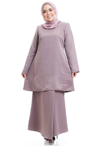 Ashura multi and brown Yuuka Kurung Riau Modern With Diamond Sprinkle Stone E3639AA2887C18GS_1