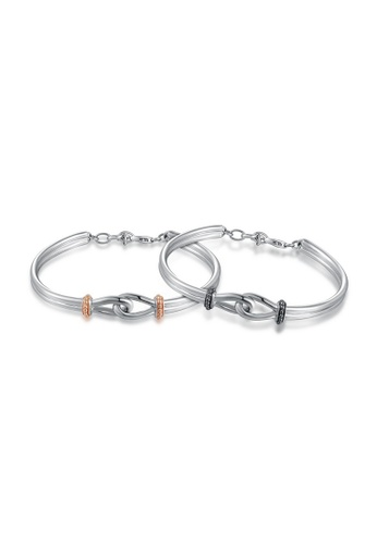 MBLife silver 925 Sterling Silver Love Knot Couple Bracelet Set CDB18AC629BCDDGS_1